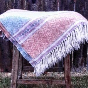 Vintage Wool Pastel Woven Throw Blanket